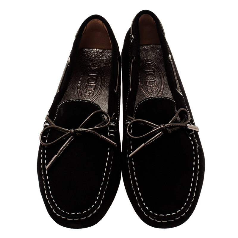 Tod's Black Suede Bow Loafers Size 39.5