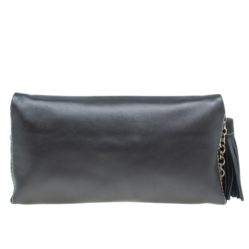 Carolina Herrera Metallic Dark Grey Leather Triana Chain Clutch