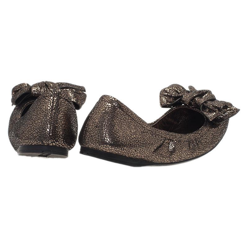 Prada Sport Bronze Texture Leather Bow Ballet Flats Size 35.5