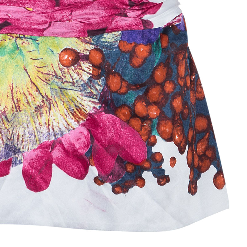 Roberto Cavalli Floral Silk Pleated Top M