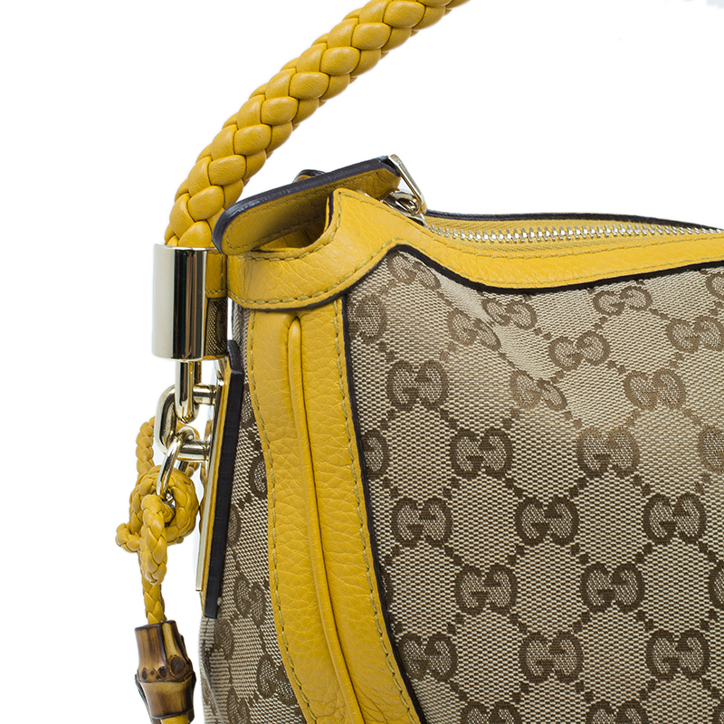 Gucci Beige Canvas and  Yellow Leather Trim Bella Tote