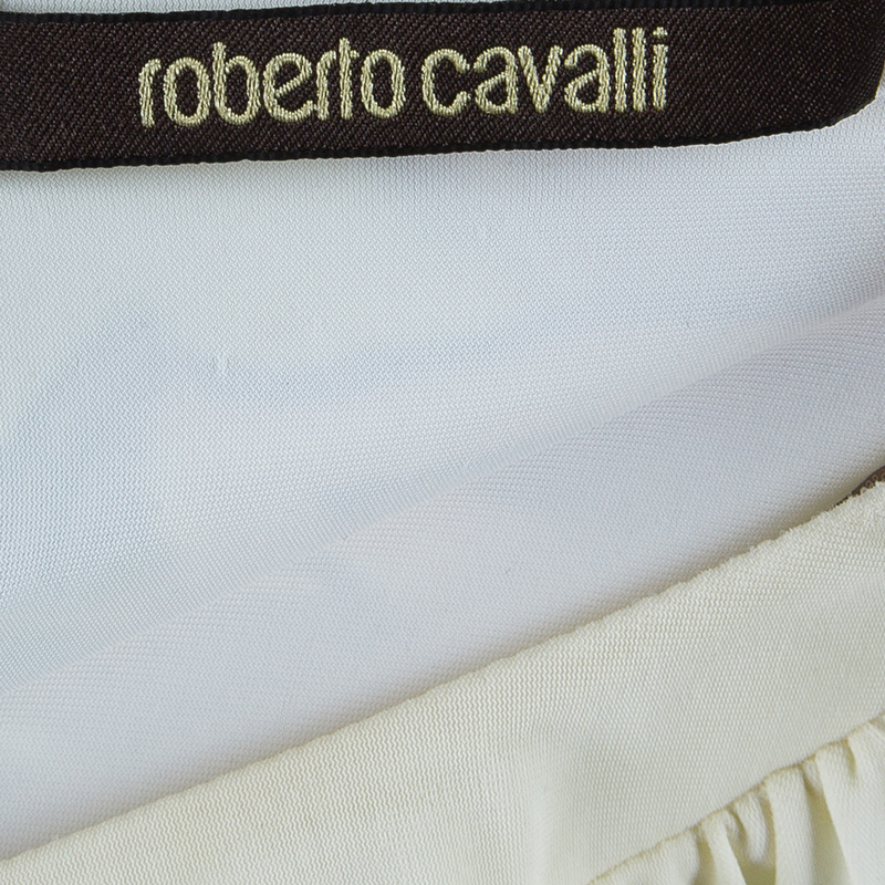 Roberto Cavalli White Floral Print Gown S
