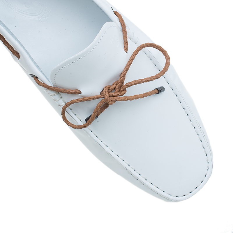 Tod's White Leather Bow Loafers Size 42.5