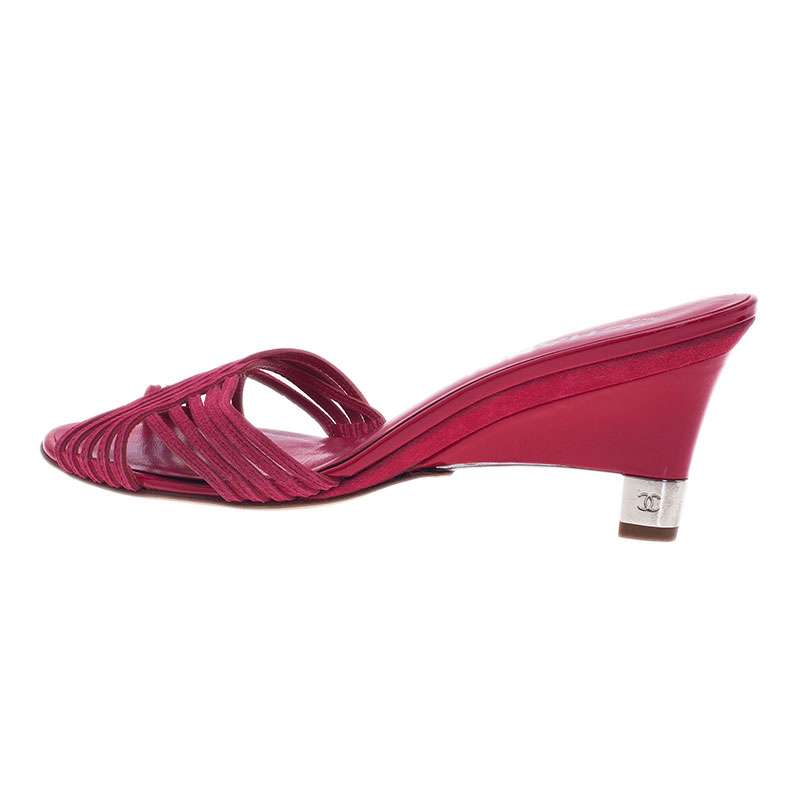 Chanel Pink Leather Wedge Slides Size 39