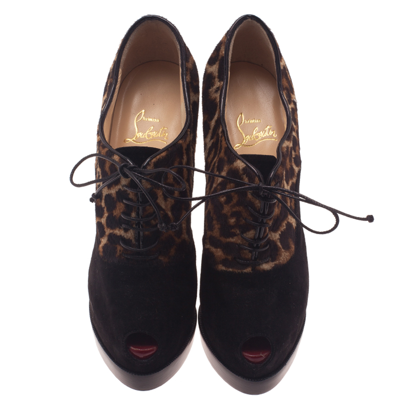 Christian Louboutin Leopard Pony Hair and Suede Miss Poppins Lace Up Ankle Boots Size 38.5