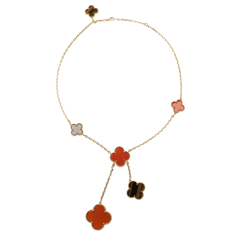 Van Cleef & Arpels Magic Alhambra Tiger Eye Red Carnelian Yellow Gold Necklace
