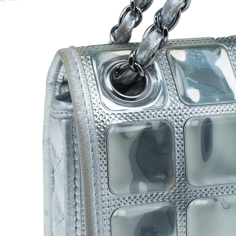 Chanel Silver Leather Ice Cube Limited Edition Flap Bag