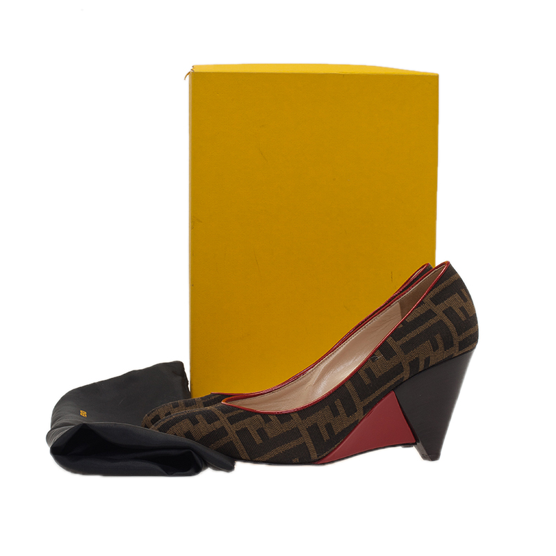 Fendi Zucca Canvas Wedge Pumps Size 40