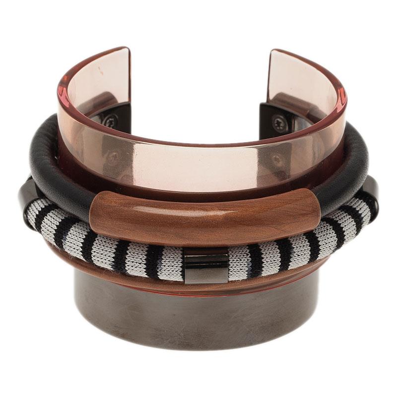 Missoni Three Strands Multicolor Silver Tone Bracelet