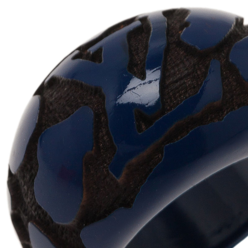 Louis Vuitton Leo Monogram Blue Ring Size 54.5