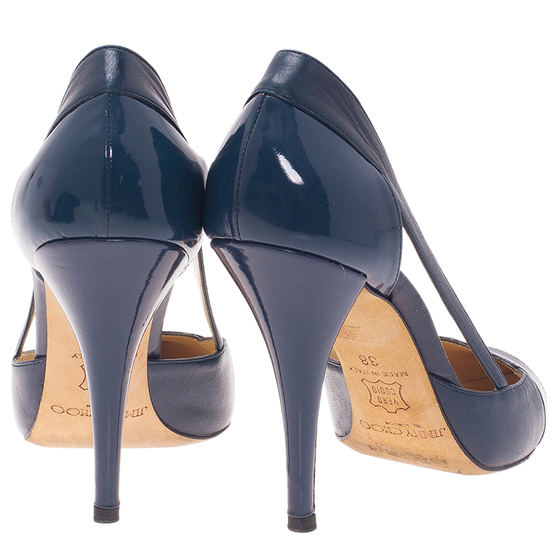 Jimmy Choo Navy Blue Leather Cap Toe Pumps Size 38