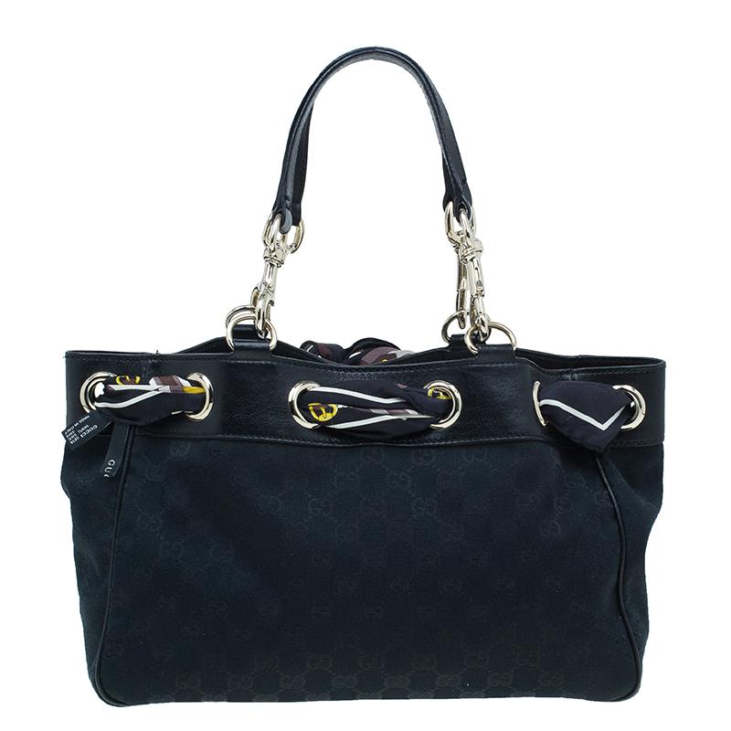 Gucci Black GG Canvas Small Positano Tote Bag