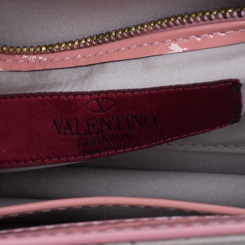 Valentino Beige/Pink Satin Floral Print Wristlet Clutch Bag