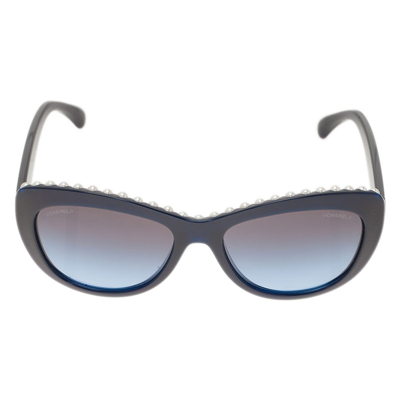 Chanel Blue 6038 Pearl Embellished Cat Eye Sunglasses