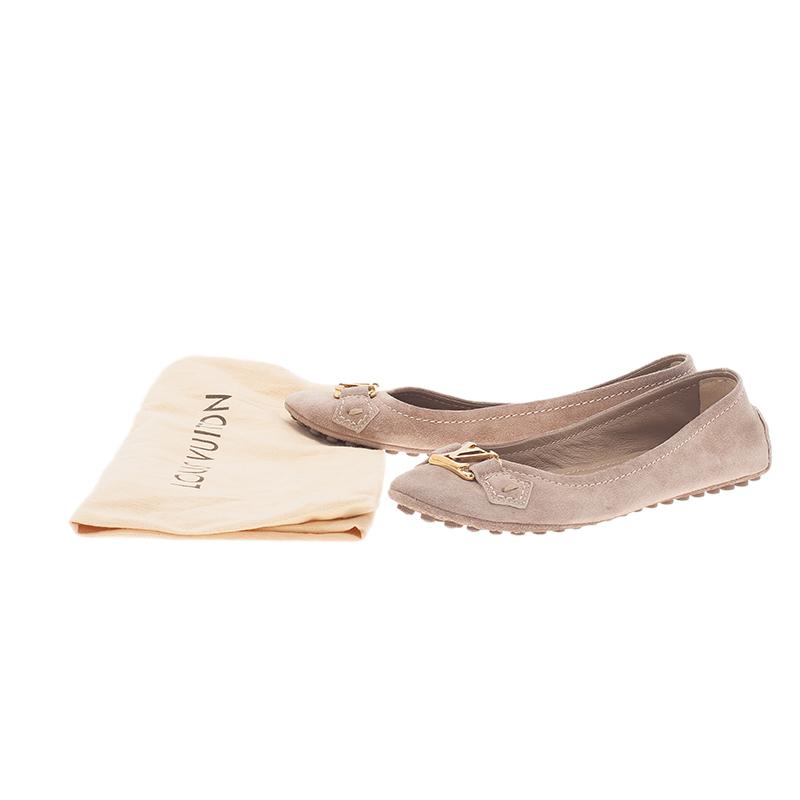 Louis Vuitton Beige Suede Oxford Ballet Flats Size 35