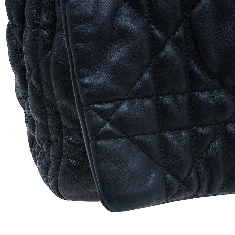 Dior Black Cannage Quilted Lambskin Large Flap Shoulder Bag