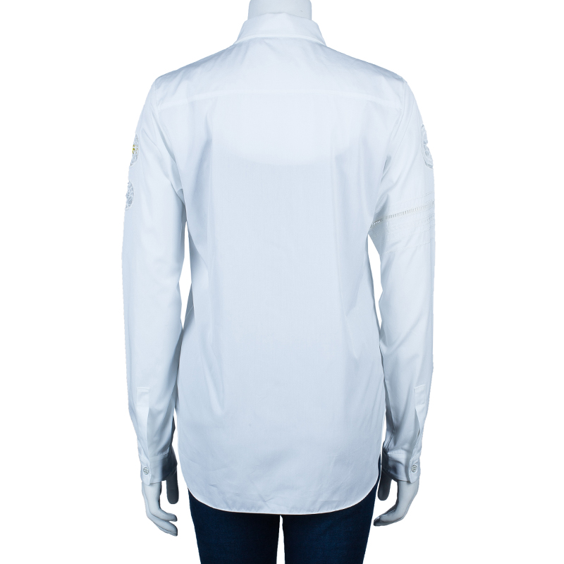 Dior White Embroidered Sleeve Shirt M