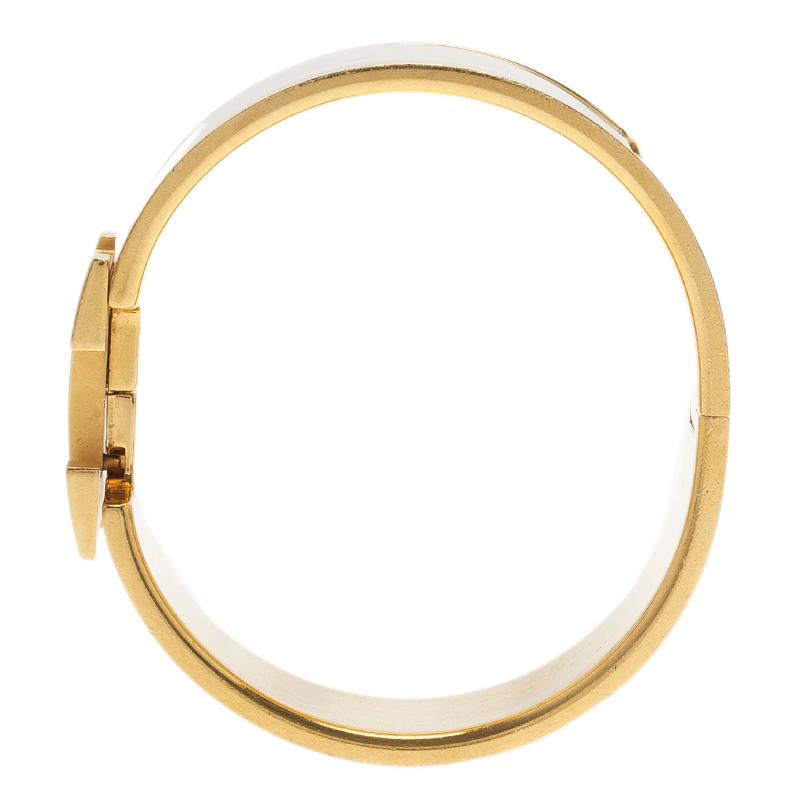 Hermes Clic Clac H Wide White Enamel Gold-Plated Bracelet