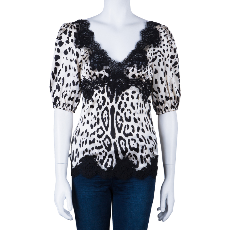 Dolce and Gabbana Leopard Print Lace Detail Top S