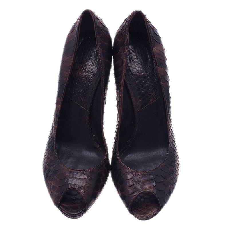 Dior Black Python Miss Dior Peep Toe Pumps Size 38