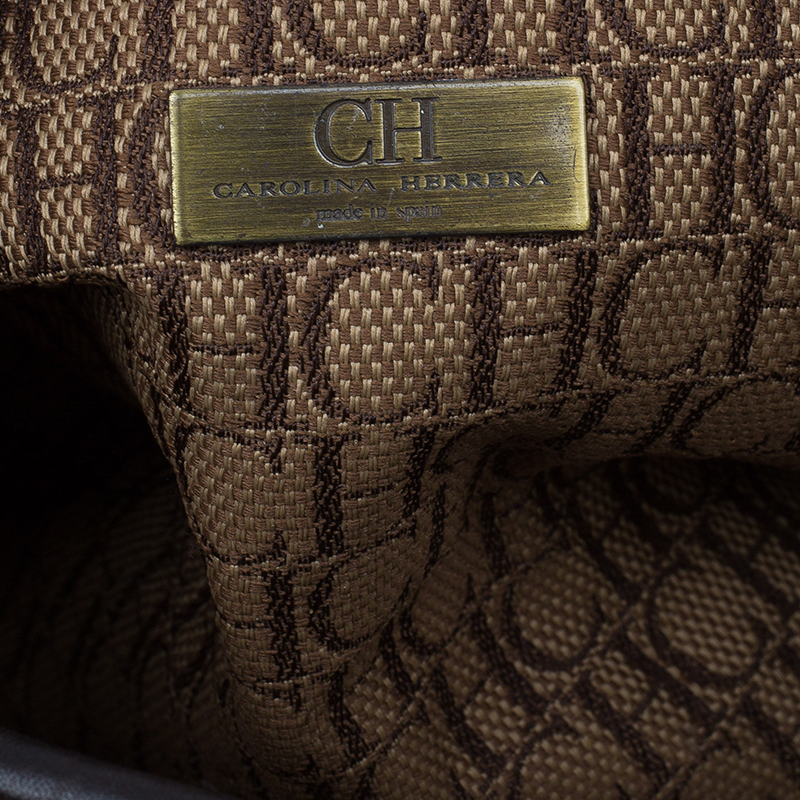 Carolina Herrera Multicolor Perforated Leather Tote Bag