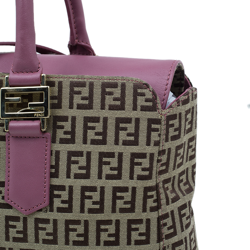 Fendi Brown Pink Zucchino Canvas Top Handle Crossbody Bag