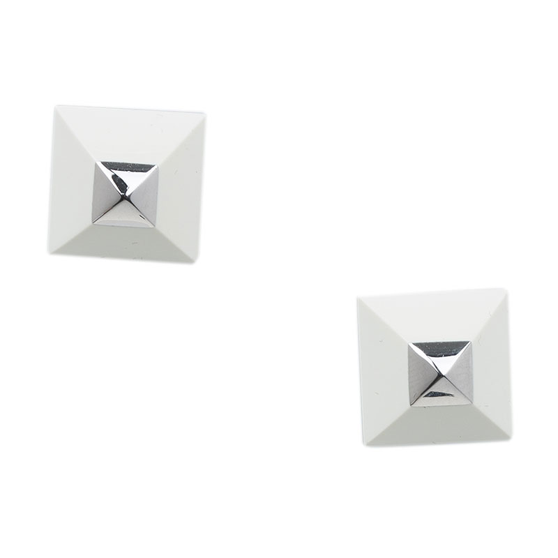 Hermes Cupidon White Enamel Silver Plated Stud Earrings