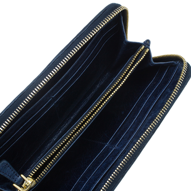 Miu Miu Navy Blue Matelasse Zip Around Wallet