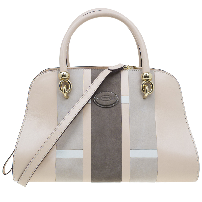 Tod's Beige Leather Small Alo Sella Bauletto Satchel