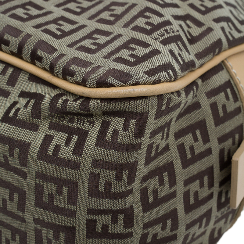 Fendi Brown Zucchino Canvas Boston Bag