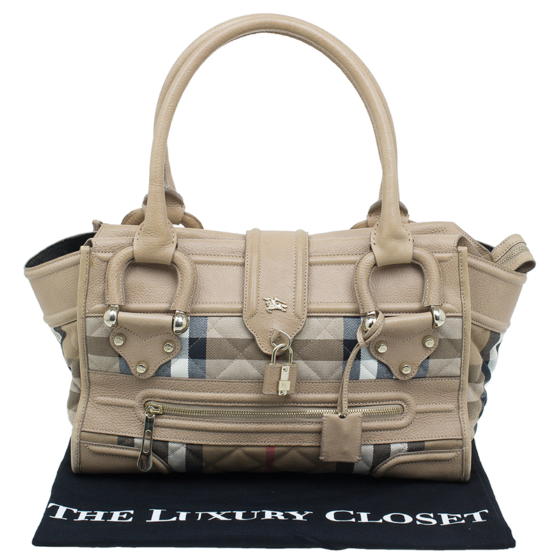 Burberry Cream Quilted House Check Manor Satchel Bag