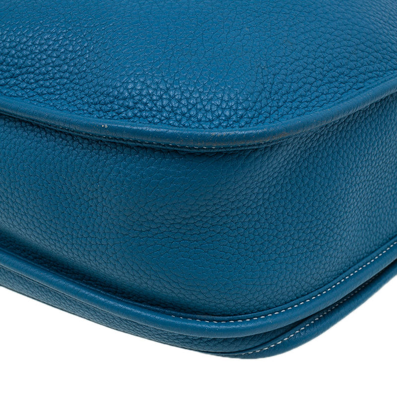 Hermes Blue Clemence Leather Evelyne III GM