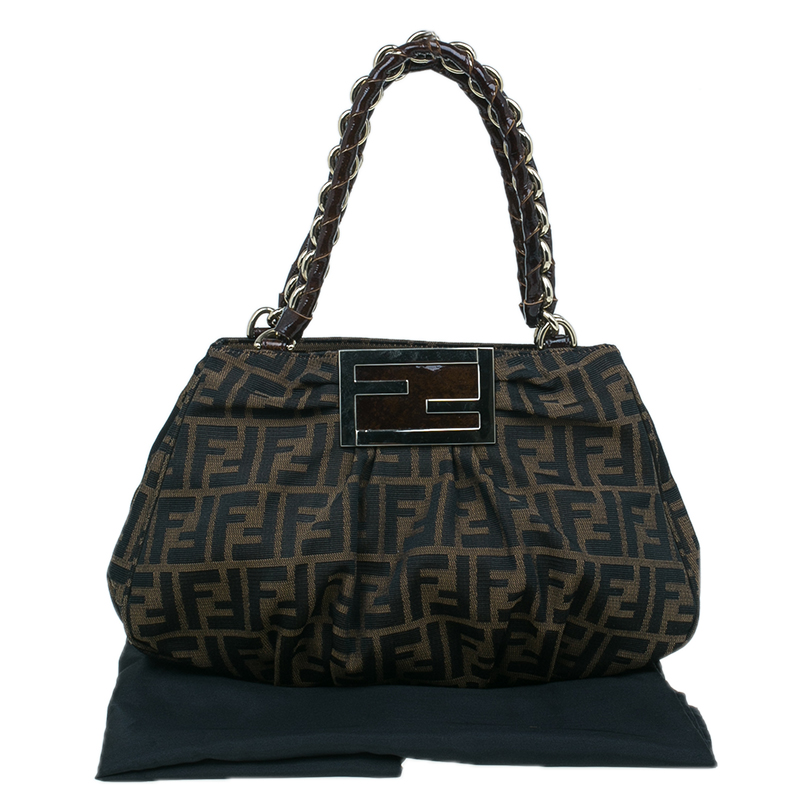Fendi Brown Zucca Canvas Small Mia Shoulder Bag