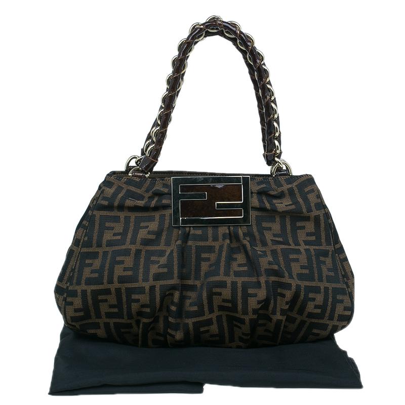 Fendi Brown Zucca Canvas Small Mia Shoulder Bag