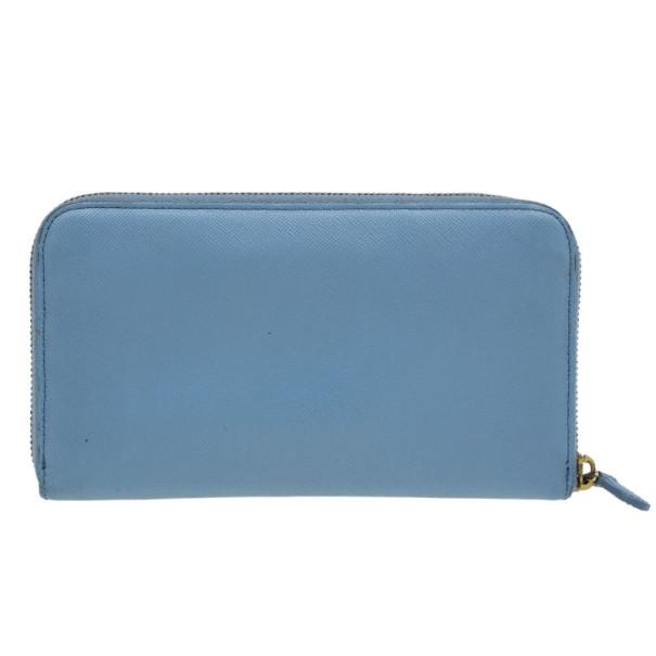 Prada Light Blue Saffiano Metal Oro Side-Zip Wallet