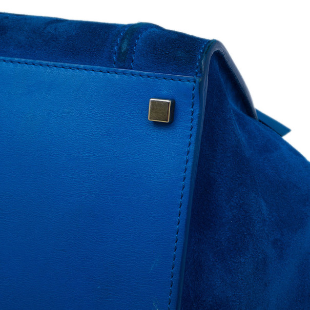 Celine Antique Blue Suede Medium Phantom Tote