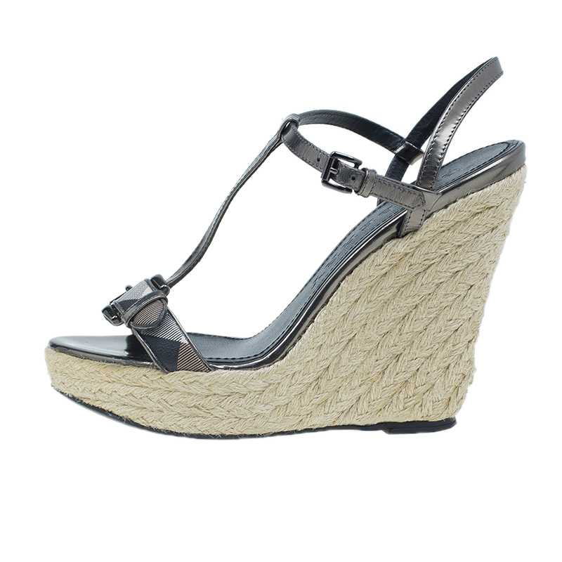 Burberry Grey Metallic Leather Check Espadrilles Wedges 38