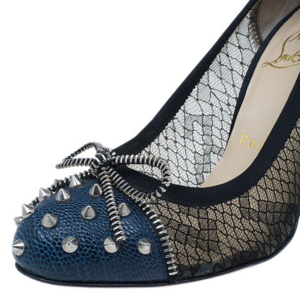 Christian Louboutin Blue and Black Candy Spiked Pumps Size 37