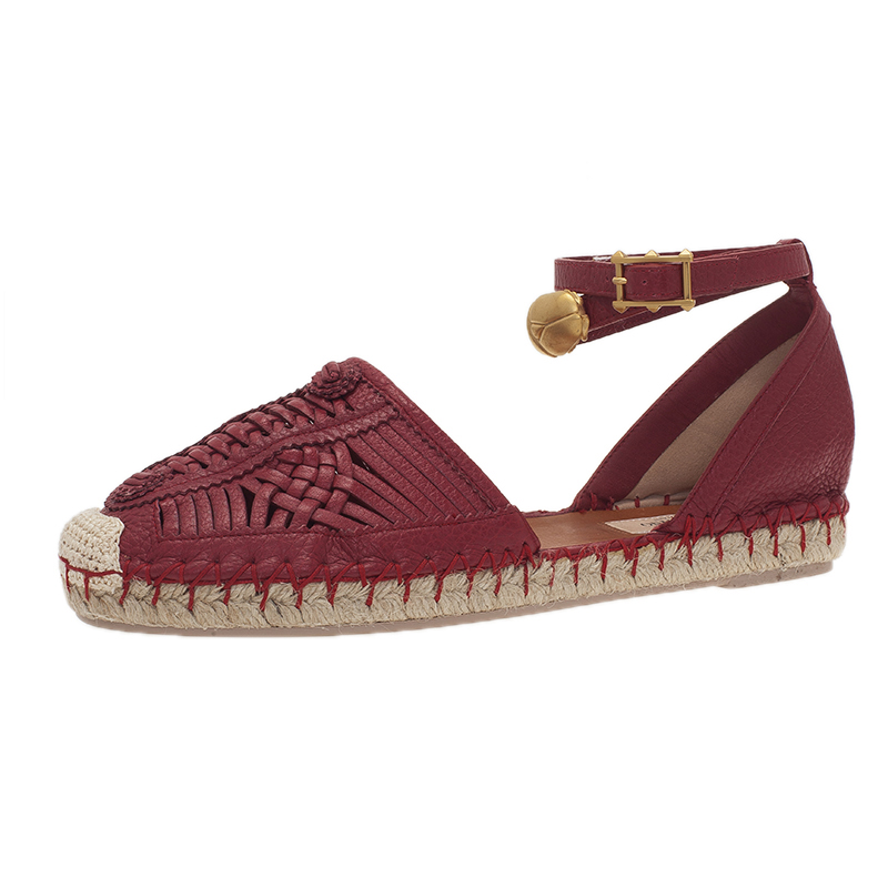 Valentino Red Leather Woven Ethno Ankle Strap Espadrilles Size 37