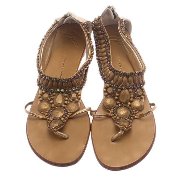Giuseppe Zanotti Gold Leather Jeweled Flat Thong Sandals Size 39