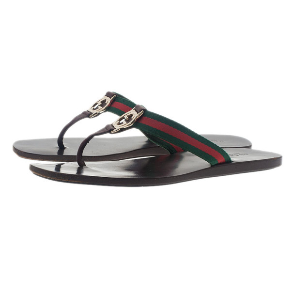 Gucci 'GG' Thong Web Detail Sandals With Double 'G' Ornament Size 39
