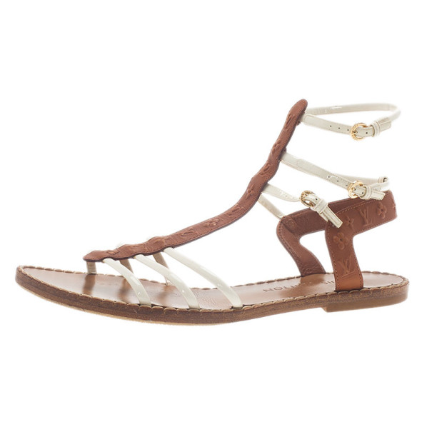 Louis Vuitton White and Brown Leather Key West Sandals Size 39