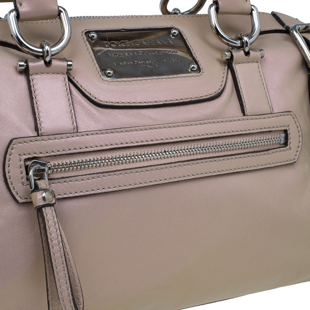 Dolce and Gabbana Metallic Pink Leather Miss Easy Way Boston