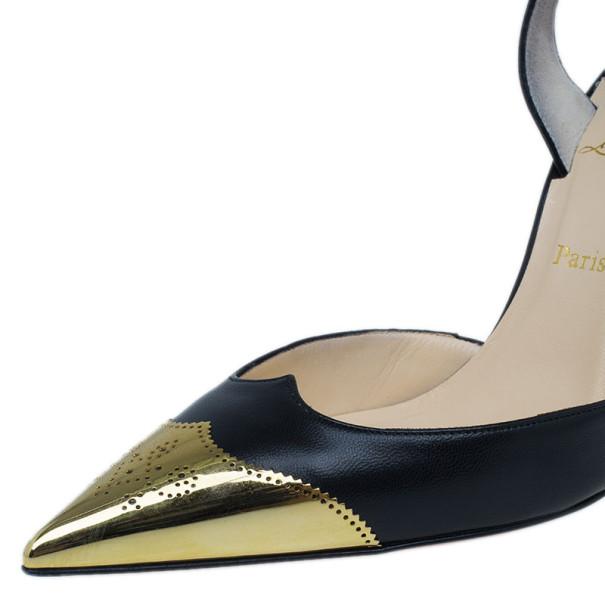 Christian Louboutin Black Leather Calamijane Cap Toe Slingback Sandals Size 37