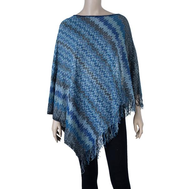 Missoni Blue Tonal Knit Poncho