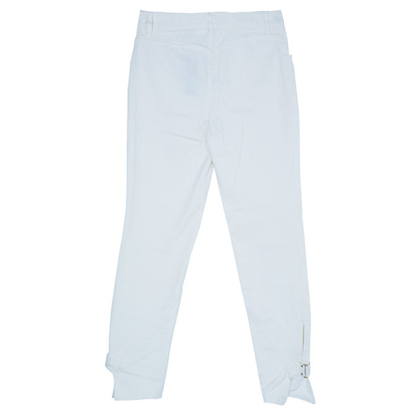 Gucci White Tapered Buckle Hem Denim Trousers L