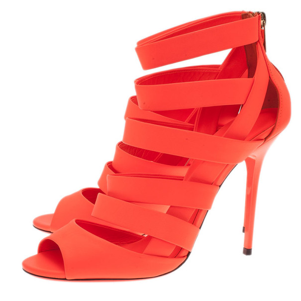 Jimmy Choo Neon Orange Caged Leather 'Dame' Sandals Size 39.5