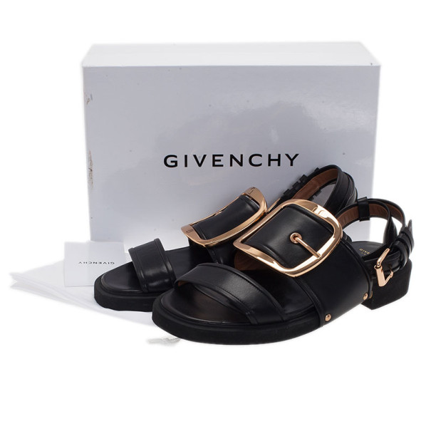 Givenchy Black Leather Victor Buckle Flat Sandals Size 38