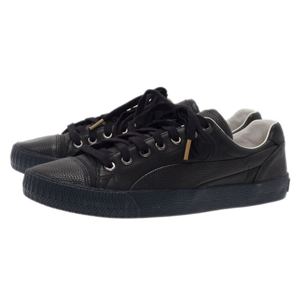 Alexander McQueen for Puma Black Leather Street Climb Low Top Sneakers Size 40.5