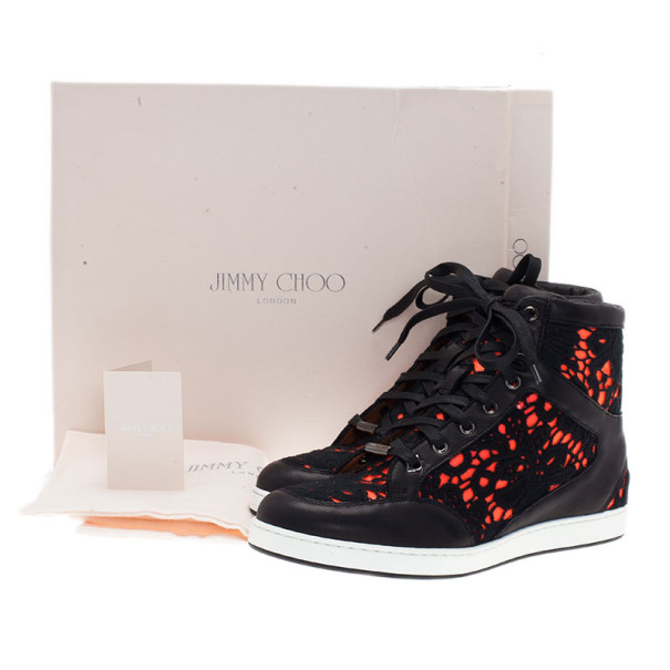 Jimmy Choo Neon Leather and Lace Tokyo High Top Sneakers Size 37